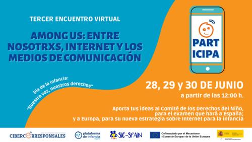 Participando en el Encuentro virtual de Cibercorresponsales sobre  infancia y adolescencia,internet y medios de comunicación
